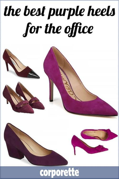 I always feel like a purple heel for the office is insanely versatile whether you're in a business casual or conservative office -- wear purple heels with black, navy, gray, as well as fun complementary colors like blues and purples, and contrasting colors like greens and reds. These are our favorite purple heels fro the office on the market in 2018!