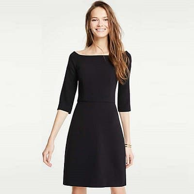 8662db8d89a93 Thursday s Workwear Report  Doubleweave Boatneck Flare Dress ...