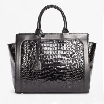 Coffee Break: Crocodile-Embossed Leather Handbag