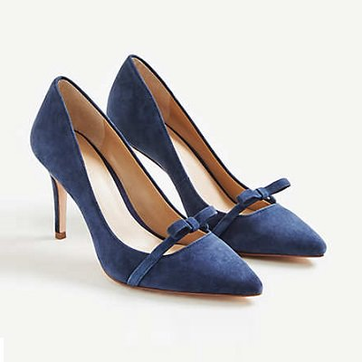navy suede pumps with tiny bow detail at low Mary Jane strap