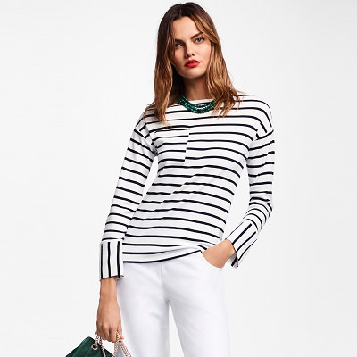 Thursday's Workwear Report: Striped Cotton Interlock Jersey Top