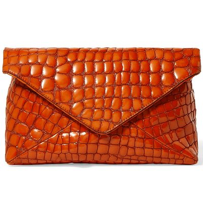 Coffee Break: Croc-Effect Patent-Leather Clutch