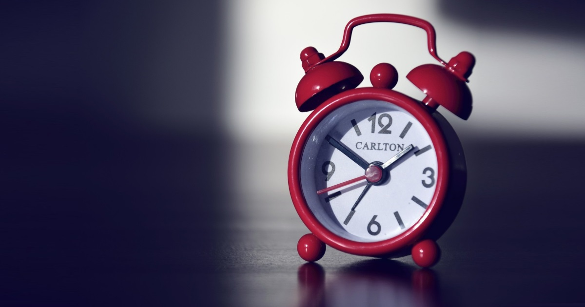 stock photo of a red alarm clock