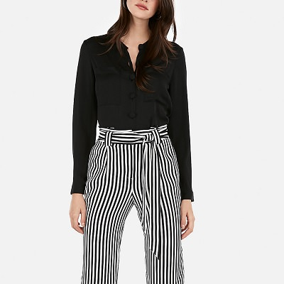 Frugal Friday's Workwear Report: High Waisted Striped Sash Tie Wide Leg Pant