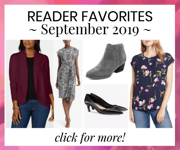 collage of Corporette reader favorites, bought for work, in September 2019, with a link to full article