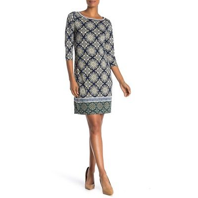 Frugal Friday's Workwear Report: Patterned Three-Quarter-Sleeve Shift Dress