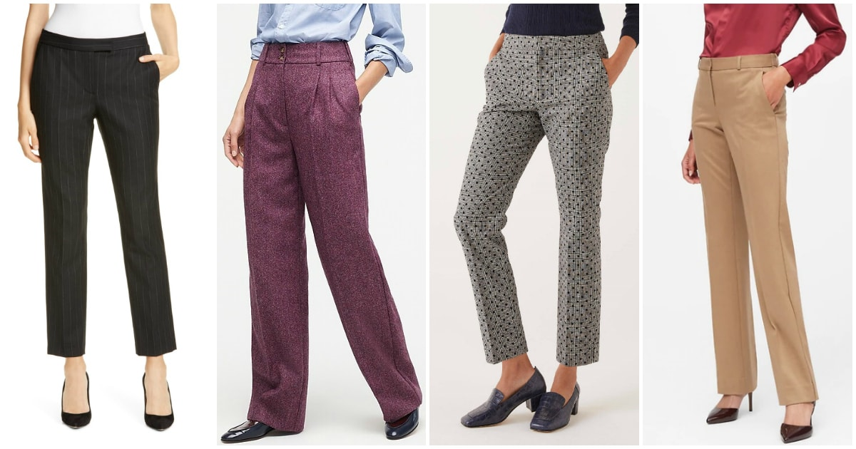 collage of wool flannel pants and wool blend pants for women