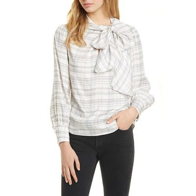 Tuesday's Workwear Report: Etched Plaid Silk Blend Blouse