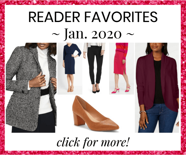 house ad for a post rounding up the top items readers bought to wear to work in Jan. 2020