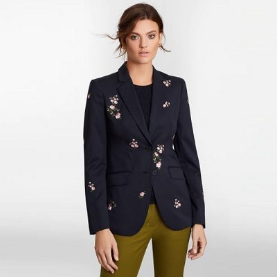 Splurge Monday's Workwear Report: Floral-Embroidered Stretch Wool Jacket