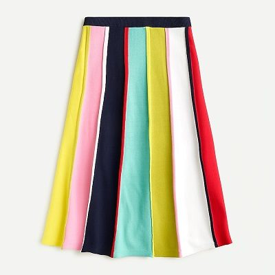 Tuesday's Workwear Report: Rainbow-Stripe Sweater Midi Skirt