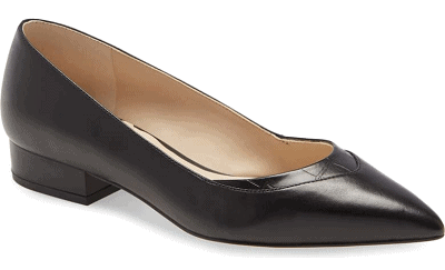 black leather pointed toe skimmer flats