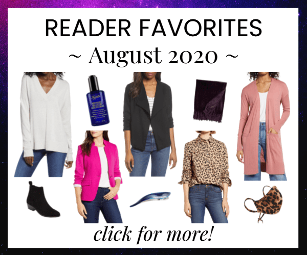 collage of reader favorites, most-bought clothing from August 2020