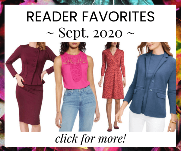 house ad for Corporette reader favorites bought in Sept. 2020, featuring a burgundy skirtsuit, a hot pink embroidered top (great for Zoom!), a washable wrap dress in a red/orange print, and a dusty blue merino sweater blazer