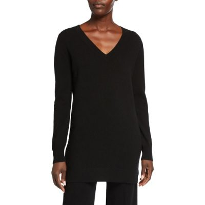 Wednesday's Workwear Report: Cashmere V-Neck Ribbed Trim Long Tunic
