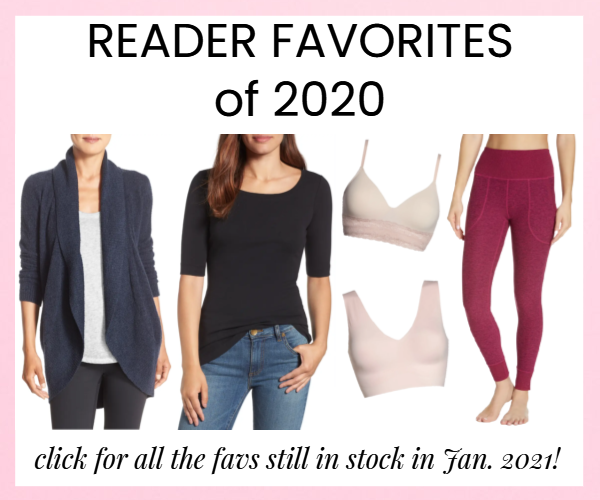"Corporette house ad for reader favorites of 2020, featuring a navy cardigan, black elbow-length t-shirt, two super comfortable bras, and red pocket leggings, with a note that says ""click for all the favs still in stock in Jan. 21!"""