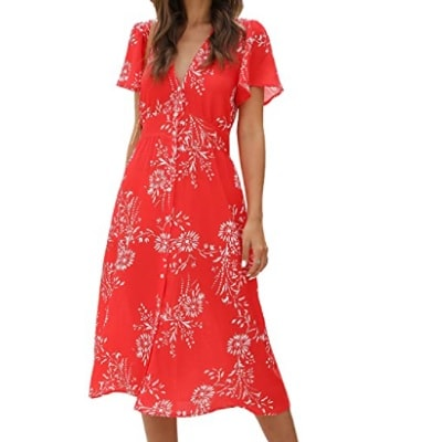 Home.fit Floral-Button-Up-Split-Dress-Deep-V-Short-Bell-Sleeve-Casual-Midi-Dress-with-Pockets Some of the Top Things Readers Bought in February 2021…