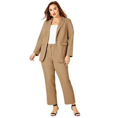 Home.fit Womens-Plus-Size-Straight-Leg-Pantsuit-with-Blazer Workwear Finds! Here's Everything Readers Bought for Work in March 2021
