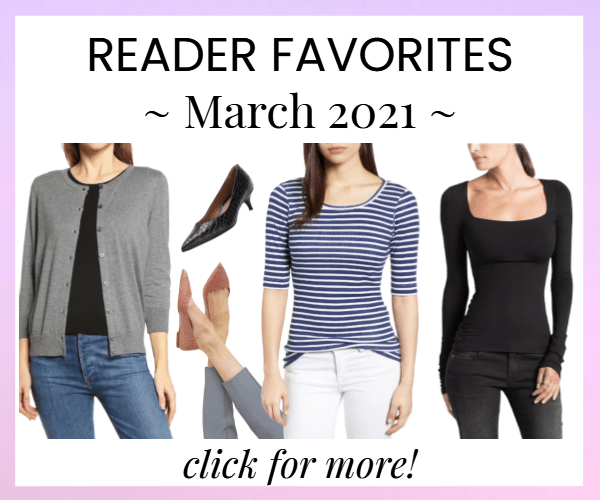 house ad for items Corporette readers bought the most in March 2021 -- click for all of them!